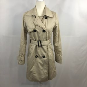 H&M Ruffled Beige Belted Trench Coat Size 4